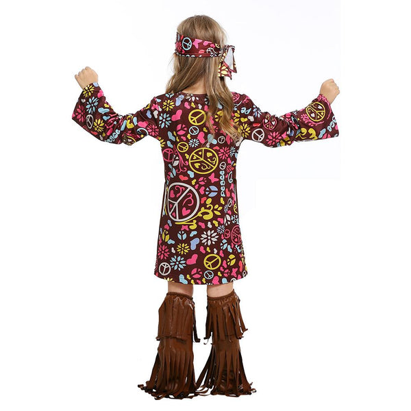 Kids Halloween Purim Children Savage Native American Costume 60s 70s Retro Hippie National Singer Cosplay Outfits