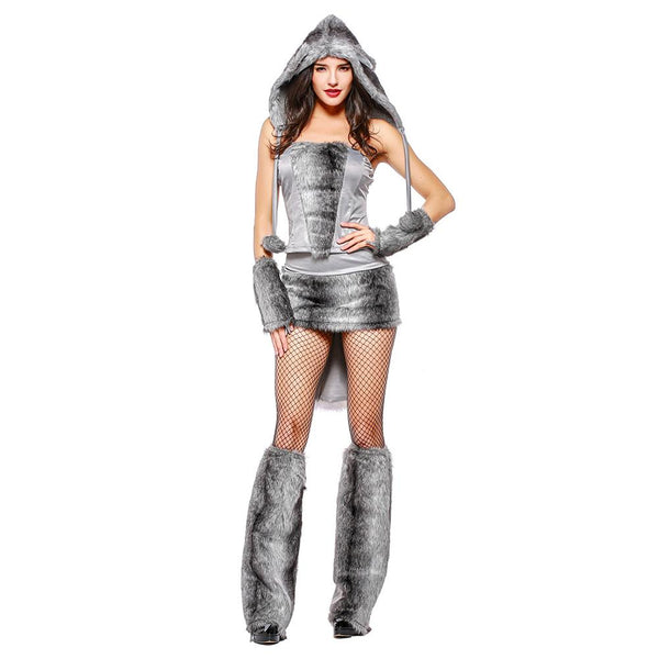 Women Halloween Grey Wolf Costume Top Skirt Set with Tail Ear Adult Animal Cosplay Costumes