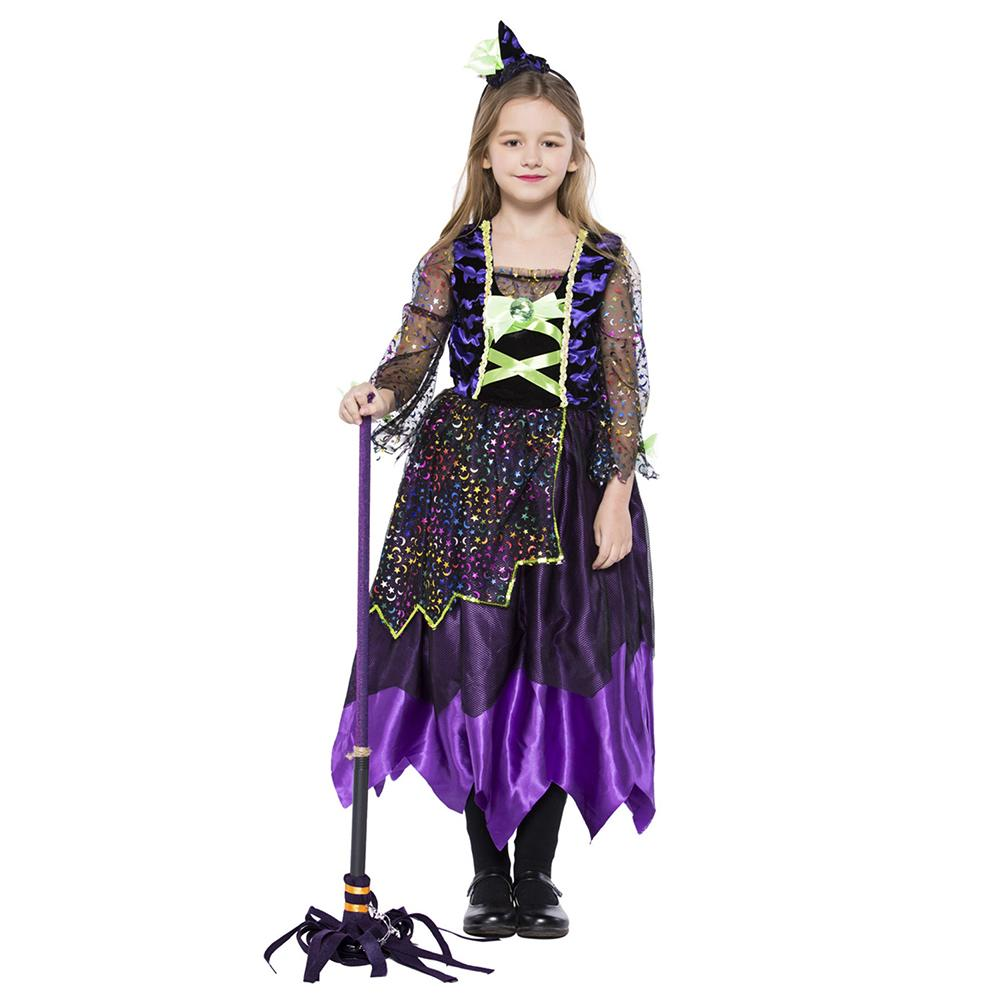 Kids Girls Star Moon Witch Costume Halloween Dotty Sparkly Accents Moon and Star Colorful Midnight Witch Costume