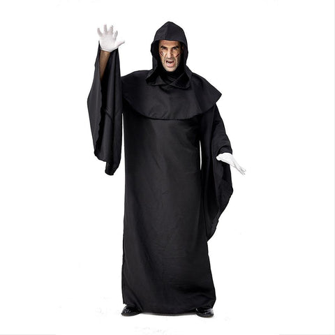 Men Grim Reaper Hooded Robe Cloak Fancy Dress Halloween Masquerade Cosplay Costume Cape