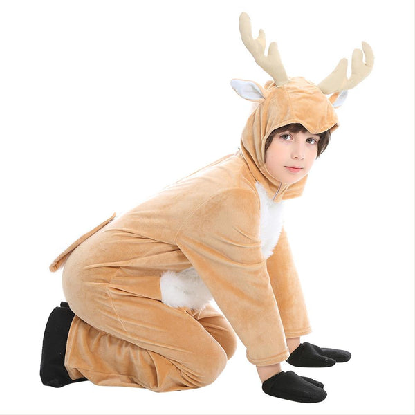 Kids Children Pajamas Plush Reindeer Elk Deer Costume Christmas Holiday One Piece Animal Cosplay Onesie