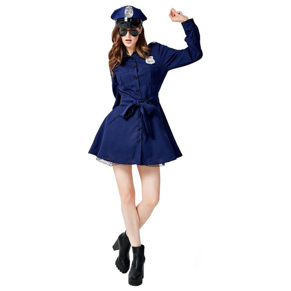Women Halloween Sexy Policewomen Cosplay Costume Role Play Uniform Stylish Party Performance Mini Fancy Dress