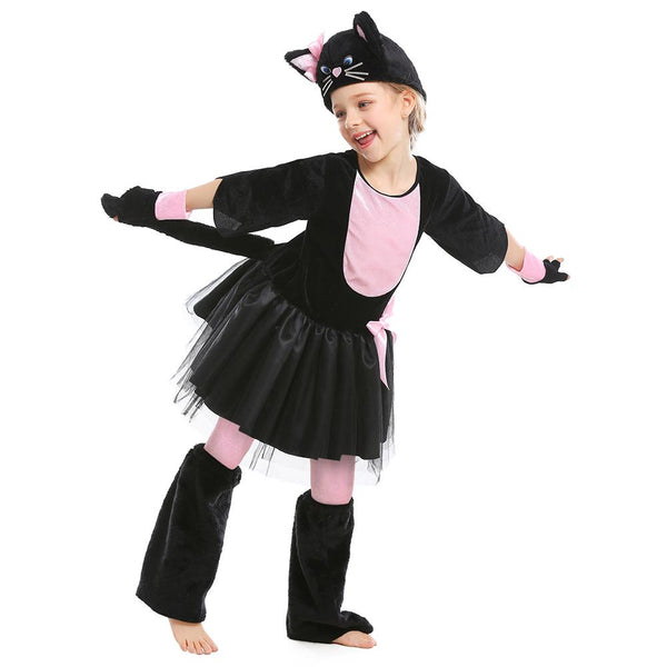 Kids Girls Miss Kitty Costume Black Cat Dress Suit Halloween Carnival Party Mardi Gras Cosplay Outfit