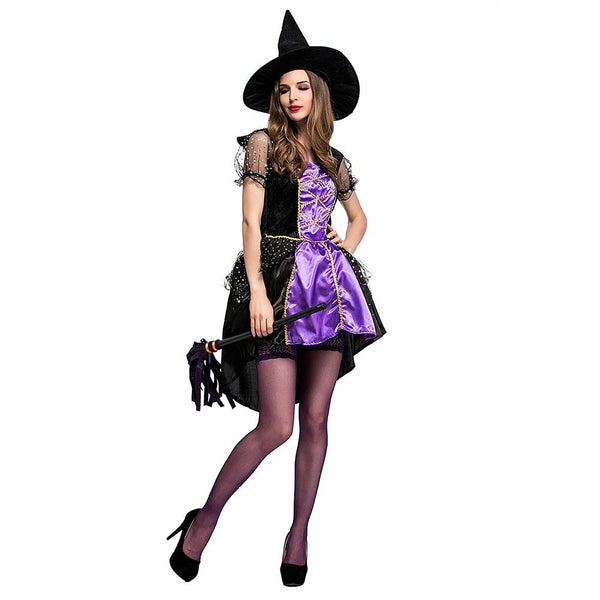 Women Halloween Purple Witch Costume Woman Dresses with Hat Carnival Cosplay Costumes Sorceress Clothes