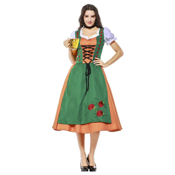 Women Halloween Dirndl Dress Adult German Oktoberfest Bavarian Beer Wench Costume Maid Outfit