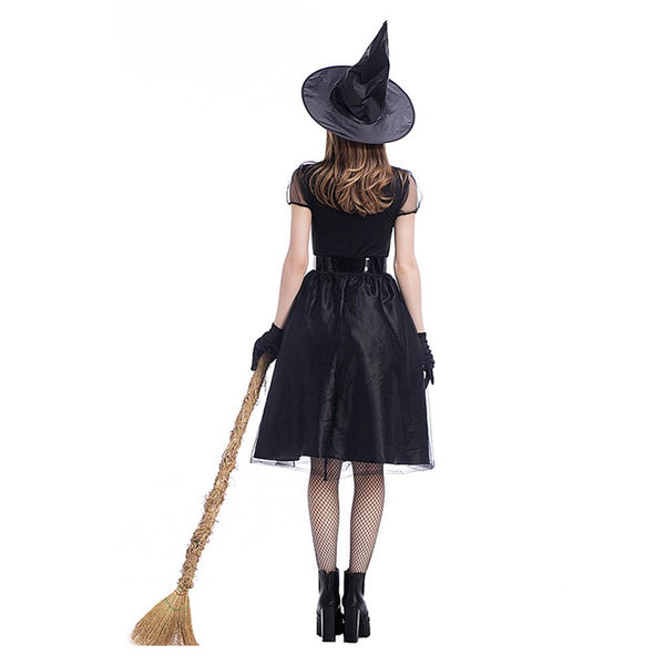 Women Black Witch Costume Deluxe Adult Magic Moment Costume Adult Witch Halloween Fancy Dress