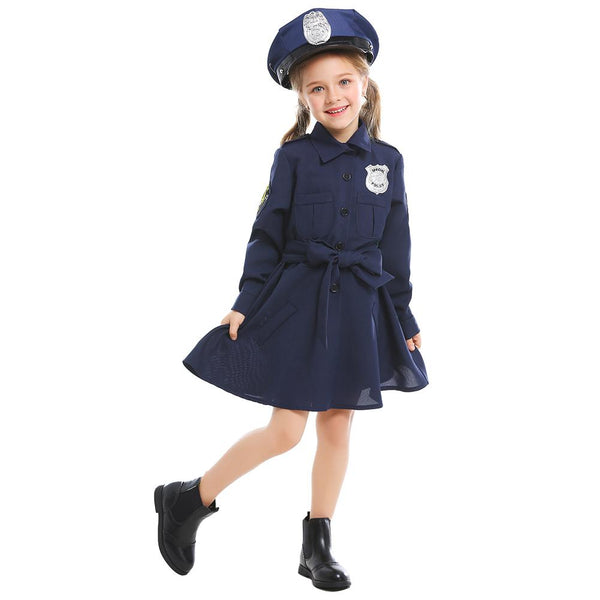 Kids Girls Police Dress Up Party Carnival Cosplay Cop Officer Costume Halloween Role Play Police Clothing Suit