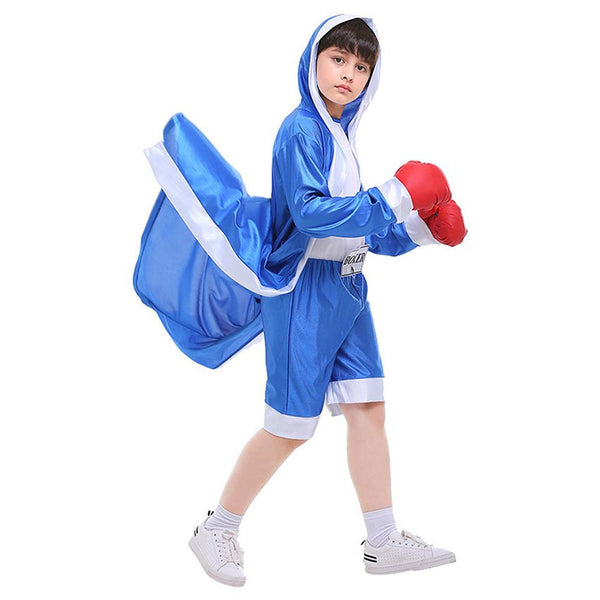 Kids Boys Boxing Costume Robe Cloak Boxer Role Playing Suit Halloween Carnival Cosplay Costume