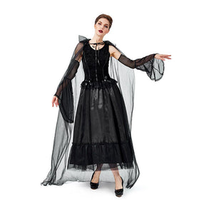 Women Halloween Black Gothic Witch Costume Carnival Fantasia Witch Cosplay Game Role Party Funny Dress
