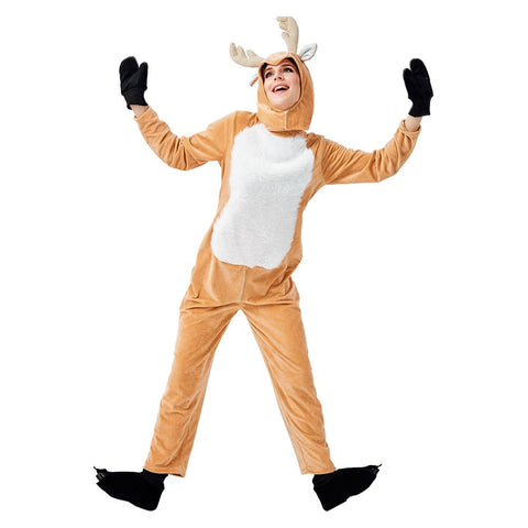 Adult Women Pajamas Plush Reindeer Elk Deer Costume Christmas Holiday One Piece Animal Cosplay Onesie