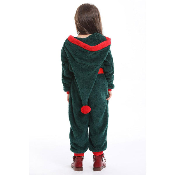 Kids Santa Claus Costume Winter Warm Pajamas Fluffy Fleece Jumpsuits Christmas Elf Cosplay Pajamas Costume