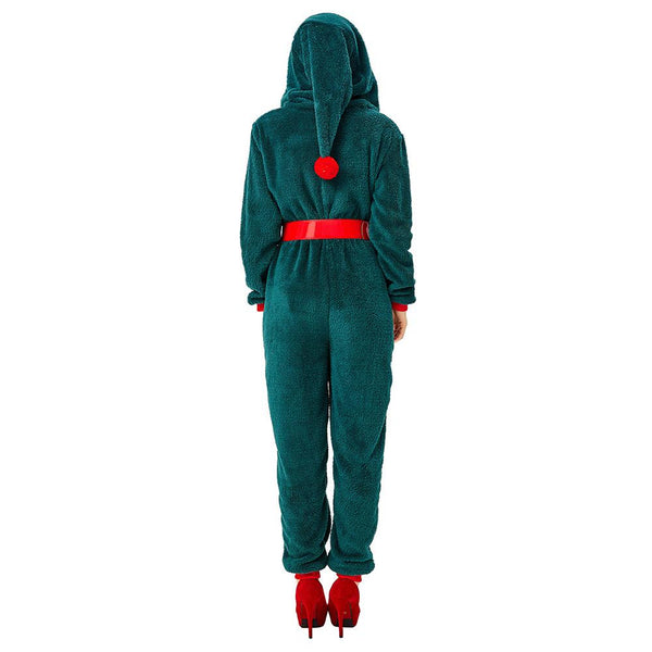 Women Santa Claus Costume Winter Warm Pajamas Fluffy Fleece Jumpsuits Christmas Elf Cosplay Pajamas Costume