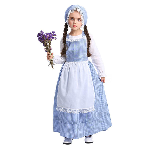 Kids Girls Idyllic Costume Rural Countryside Plaid Costume European Traditional Clothing Halloween Party Costumes