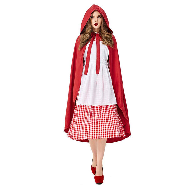 Women Halloween Fairy Tale Little Red Riding Hood Princess Cosplay Costume Oktoberfest Maid Stage Performance Dress