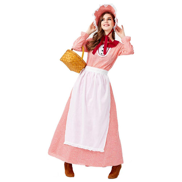Women Halloween Maid Costumes Farmer Countrywoman Cosplay Carnival Purim Nightclub Bar Role Play Party Dress