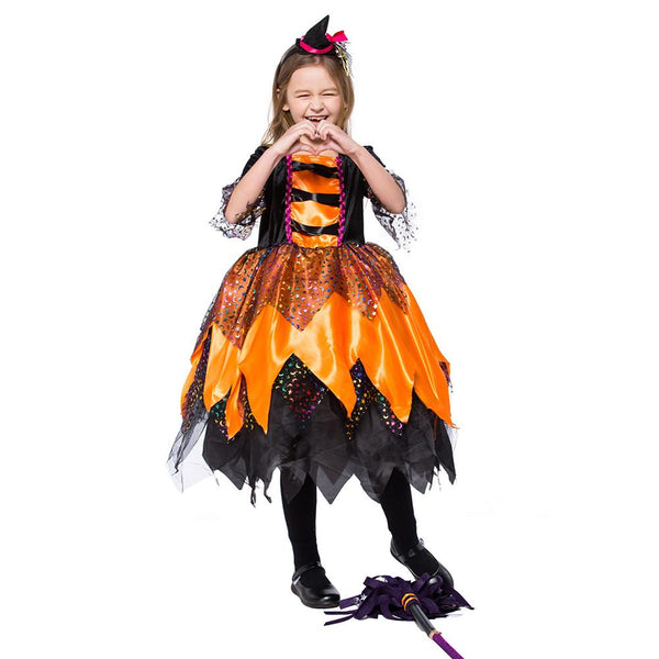 Kids Girls Party Children Witch Cosplay Costume Halloween Costume Party Witch Dress with Hat