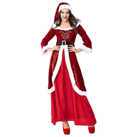 Women Santa Claus Costume Adult Christmas Clothes Full Set Cosplay Deluxe Santa Red Dress Suit