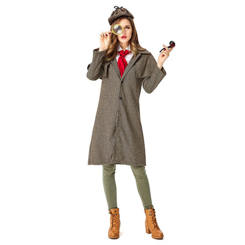 Women Halloween Sherlock Holmes Cosplay Costumes Plaid Coat Role Play Fancy Clothing Costumes