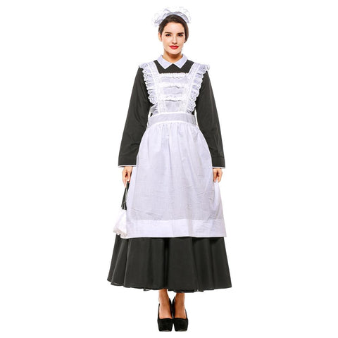 Plus Size Women Classic Black White Apron Maid Dress Halloween Maidservant Costume Purim Cosplay Costume
