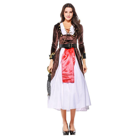Women Halloween Warrior Cosplay Pirate Costume Carnival Purim Parade Stage Show Masquerade Role Play Dress