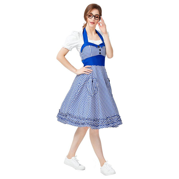 Women German Beer Girl Costume Bavarian Octoberfest Costume Uniforms Oktoberfest Dirndl Maid Cosplay Fancy Dress