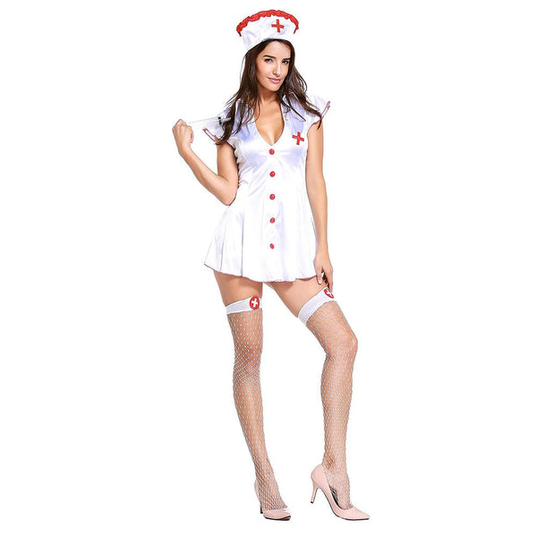 Women Sexy Nurse Role Play Cosplay Halloween Doctors Costume Carnival Purim Masquerade Nightclub Bar Rave Party Dress