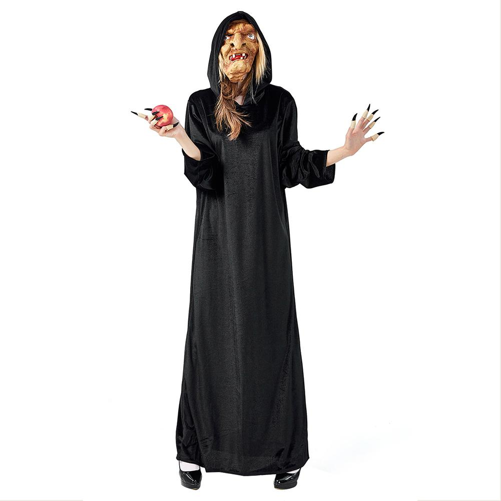 Women Velvet Witch Robe Cosplay Costume Vampire Devils Hooded Robe Costume Halloween Party Stage Outfit