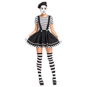 Women Halloween Acrobatic Clown Costume Criminal Female Prisoner Cosplay Carnival Nightclub Role Play Party Dress