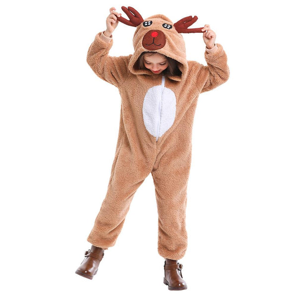 Kids Halloween Deer Costume Fawn Cosplay Winter Animal Pajamas Christmas Carnival Purim Party Dress