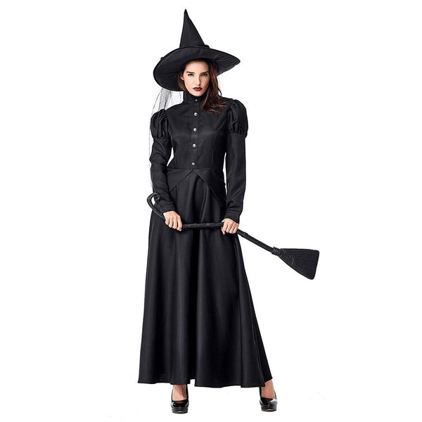 Women Halloween Wicked Witch Costume Spooky Witch Fancy Dress Black Long Sleeves Cosplay Outfit