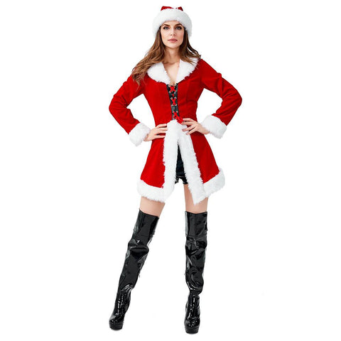 Women Red Christmas Jacket Velvet Coat Costume Miss Santa Claus Outfit Happy New Year Party Fancy Dress