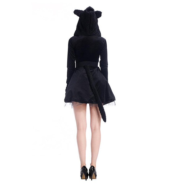 Adult Women Halloween Black Hooded Costume Lady Winter Short Fancy Flared Dress Sexy Cat Cosplay Outfit