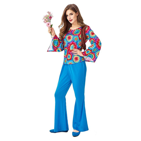 Women Halloween Retro Party 70s Hippie Costume Halloween Saturday Night Fever Funky Disco Ball Dress