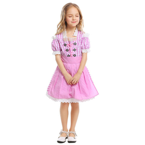 Kids Girls Beer Festival Costume German Beer Maid Dirndl Bavarian Oktoberfest Dress with Apron Clothes