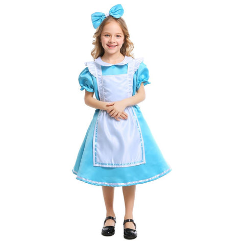 Kids Girls Alice in Wonderland Alice Costume Blue Princess Maid Cosplay Halloween Purim Mardi Gras Party Dress