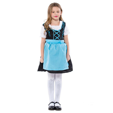 Kids Girls German Dirndl Traditional Beer Girl Costume Bavarian Oktoberfest Costume Waitress Serving Maid Outfit