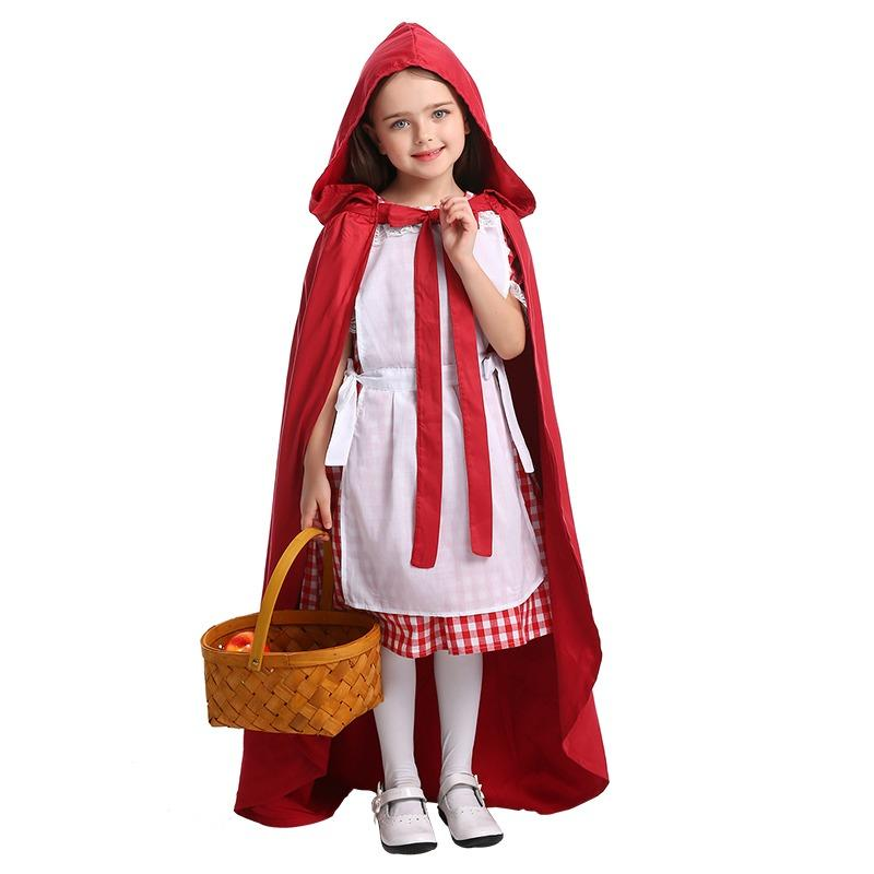Kids Girls Halloween Little Red Riding Hood Costume Children Cosplay Carnival Purim Masquerade Stage Party Dress