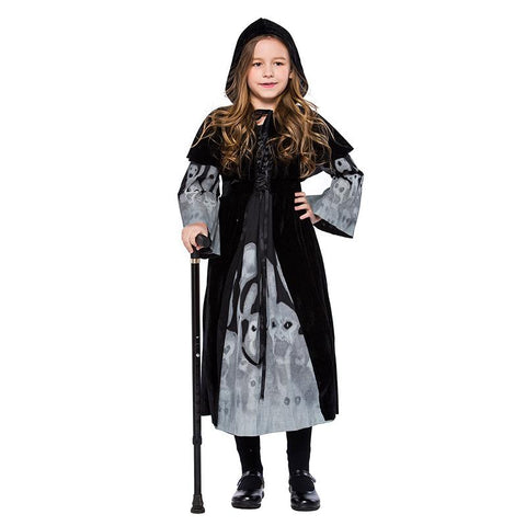 Kids Girls Long Skeleton Printing Vampire Cloth Witch Cosplay Halloween Costumes Carnival Masquerade Party Dress