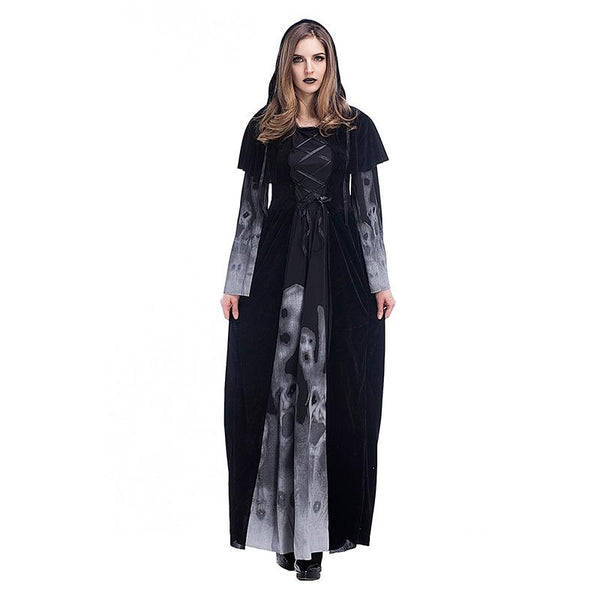 Women Long Skeleton Printing Vampire Cloth Female Witch Cosplay Halloween Costumes Carnival Masquerade Party Dress