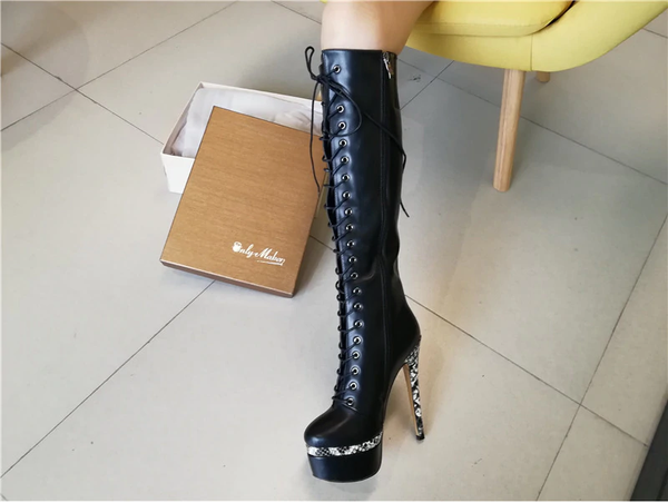 Onlymaker Platform Lace-Up High Heel Stiletto Stretch Knee High Boots