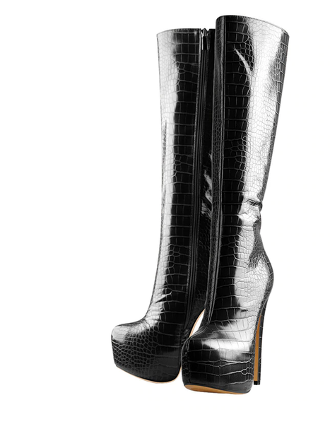 Onlymaker Crocodile Skin Platform Knee High Stiletto Boots