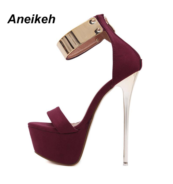 Aneikeh Ankle Strap High Stiletto Heel Platform Sandals