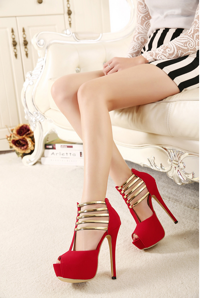 Platform High Stiletto Heel Sandals with Gold Decorations