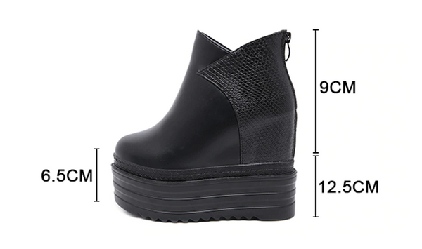 Gdgydh Female Platform Wedges Boots Black Autumn Ankle Boots For Women High Heels Ladies Leather Shoes Back Zipper