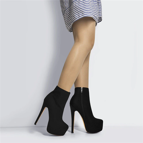 Onlymaker Round Toe Platform Ankle Booties With Stiletto Heels and Side Zipper