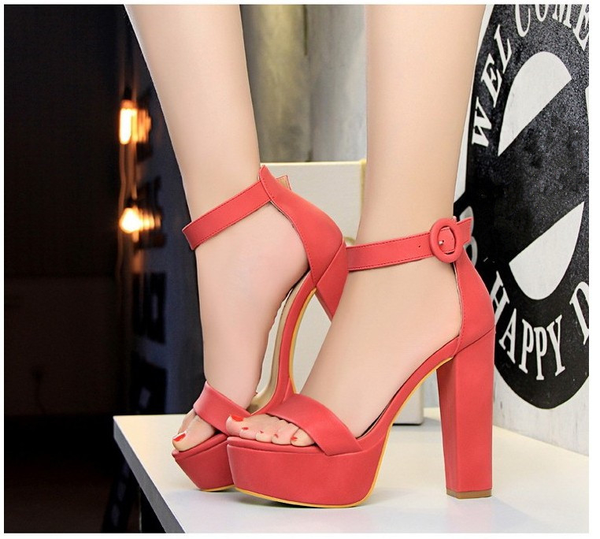 Platform High Thick Heel Ankle Strap Sandals