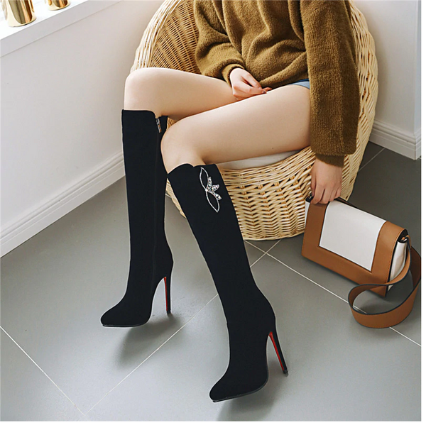 Knee High Boots With Crystal Decoration and Stiletto Heels