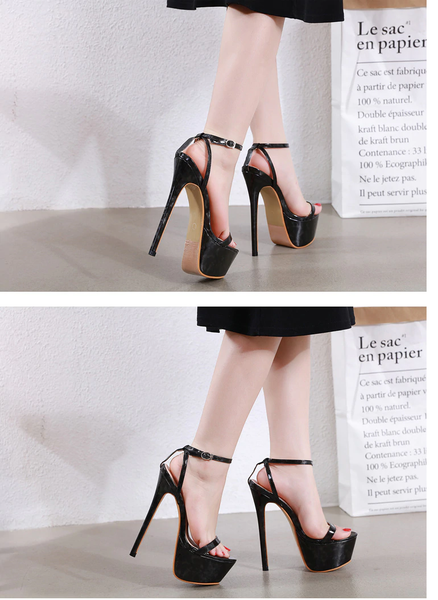Eilyken Buckle Strap Super High Stiletto Heel (17.5cm) Platform Sandals