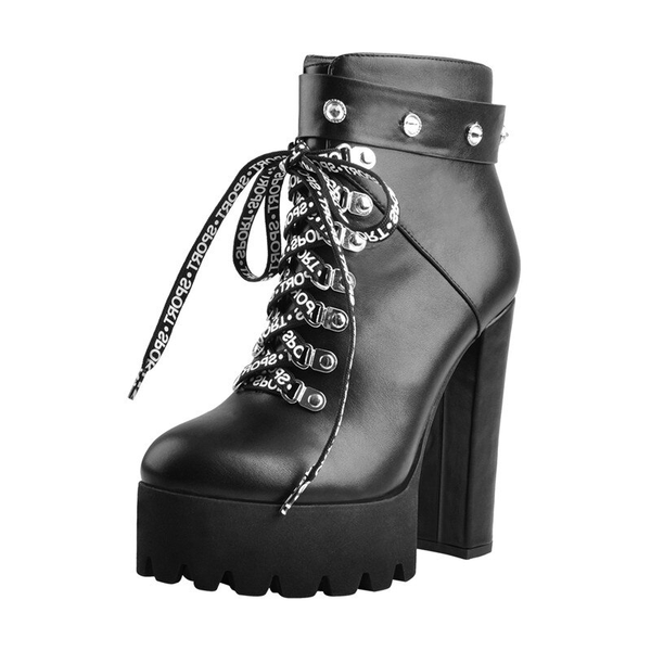 Onlymaker Platform Round Toe Lace Up Ankle Booties With Thick High Heels