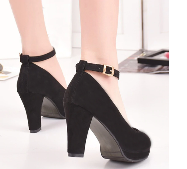 Low Thick Heel Platform Pumps with Ankle Straps